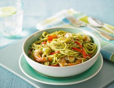 Spaghetti with Olive Pesto & Shrimp