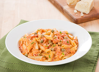 Penne in a Rose Sauce with Capers and Chives